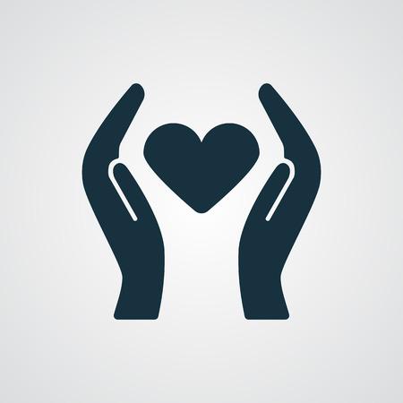 Flat Heart Care icon Illustration