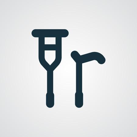 crutch: Flat Crutch Cane icon