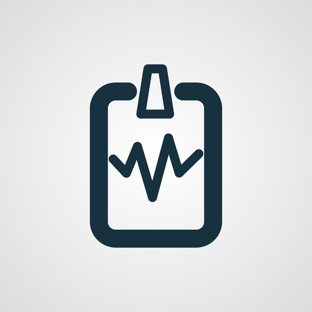 cardiogram: Flat Cardiogram Clipboard icon Illustration