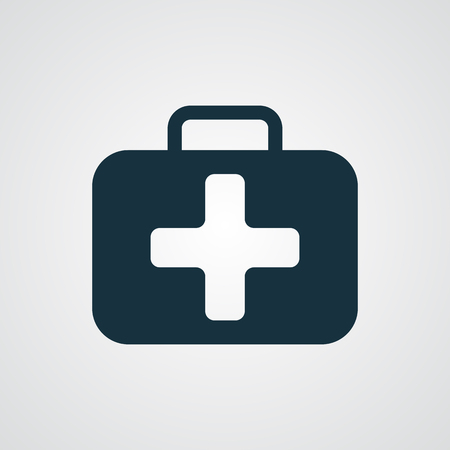 emergency kit: Flat First Aid Kit icon Illustration