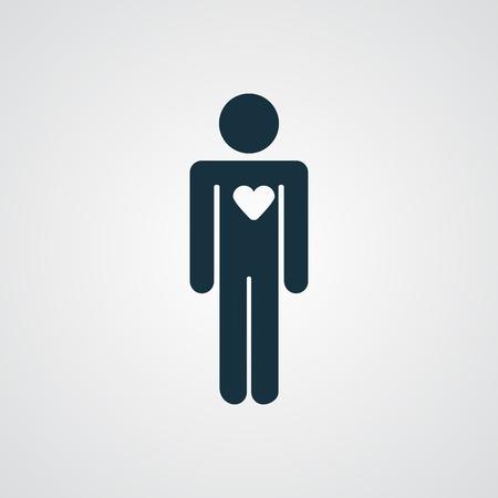 persona enferma: Icono del corazón plana