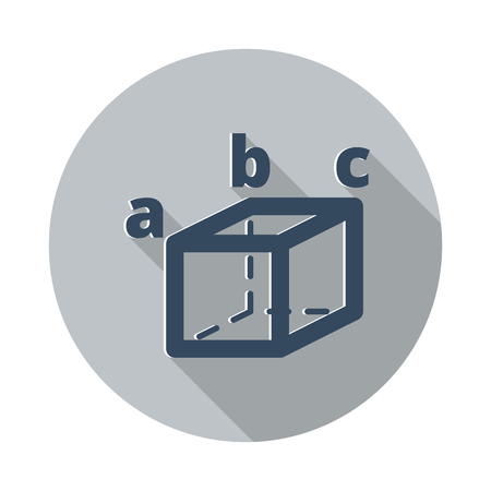 Flat Trigonometry icon with long shadow on grey circle Illustration