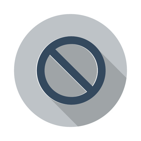 suppression: Flat Forbidden icon with long shadow on grey circle Illustration