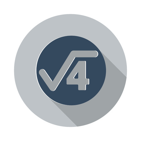 square root: Flat Square Root icon with long shadow on grey circle