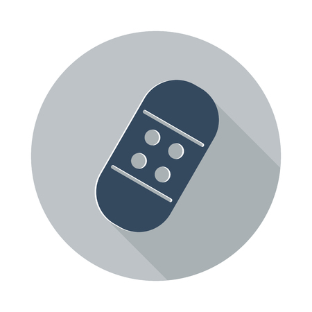 long recovery: Flat Adhesive Bandage icon with long shadow on grey circle