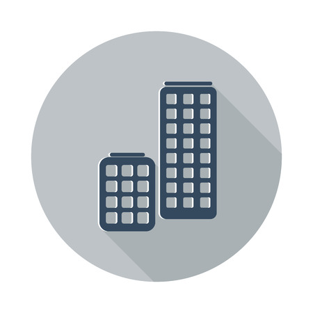 Flat Skyscrapers icon with long shadow on grey circle