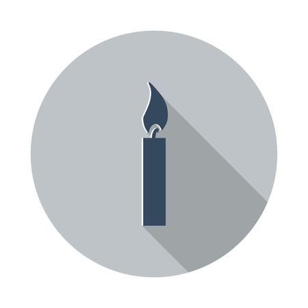 candle light: Flat Candle Light icon with long shadow on grey circle Illustration