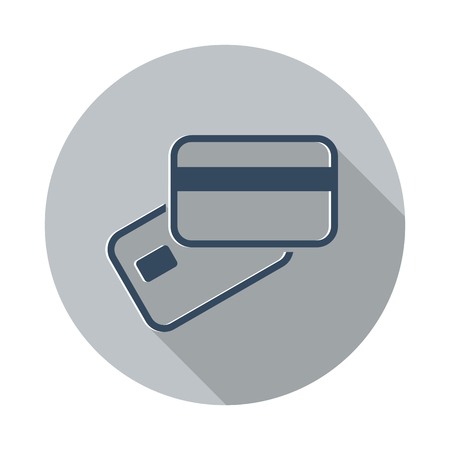 smart card: Flat Credit Card Payment icon with long shadow on grey circle Illustration