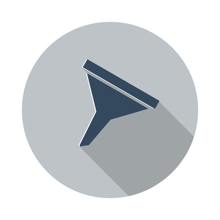 funnel: Flat Funnel icon with long shadow on grey circle