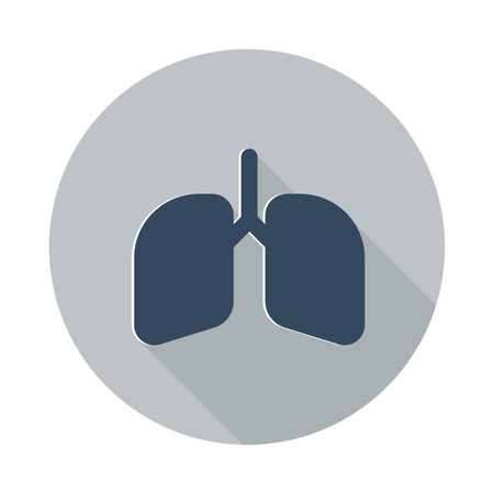 breathing exercise: Flat Lungs icon with long shadow on grey circle Illustration