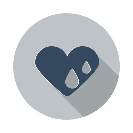 hes: Flat Heart Water icon with long shadow on grey circle
