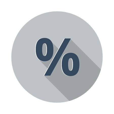 rebate: Flat Percentage icon with long shadow on grey circle Illustration