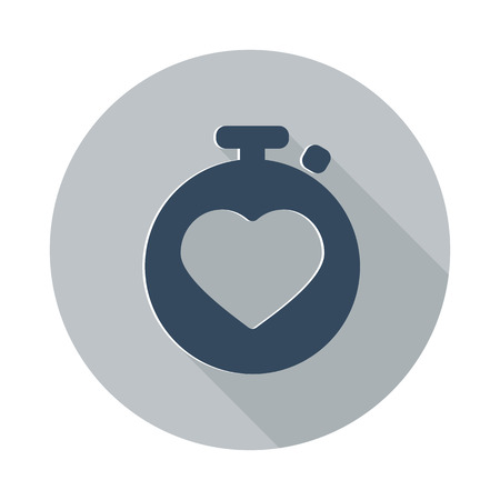 heart monitor: Flat Heart Rate Monitor icon with long shadow on grey circle Illustration