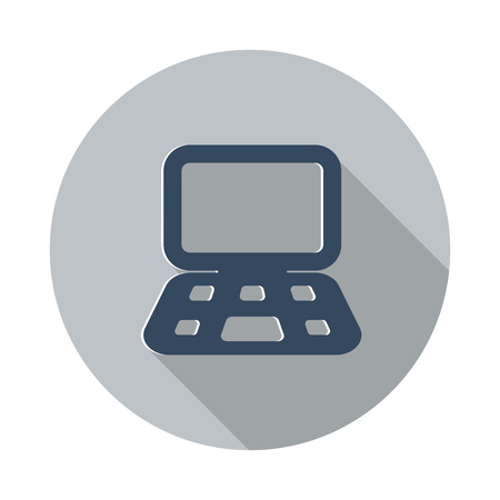 Flat Computer icon with long shadow on grey circle Иллюстрация