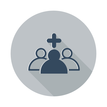 medical team: Flat Medical Team icon with long shadow on grey circle