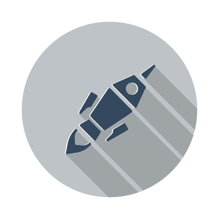 new beginnings: Flat Rocket Launch icon with long shadow on grey circle