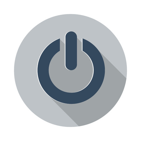 Flat Power icon with long shadow on grey circle