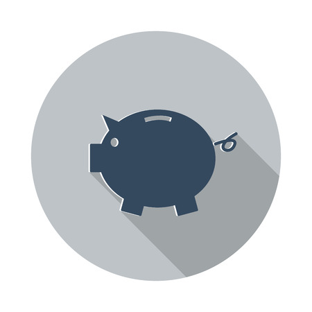 loaning: Flat Piggy Bank icon with long shadow on grey circle