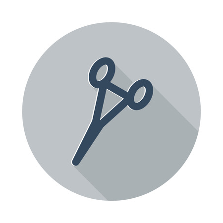 hemostat: Flat Surgical Clamps icon with long shadow on grey circle Illustration
