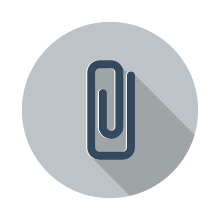 paper clip: Flat Paper Clip icon with long shadow on grey circle