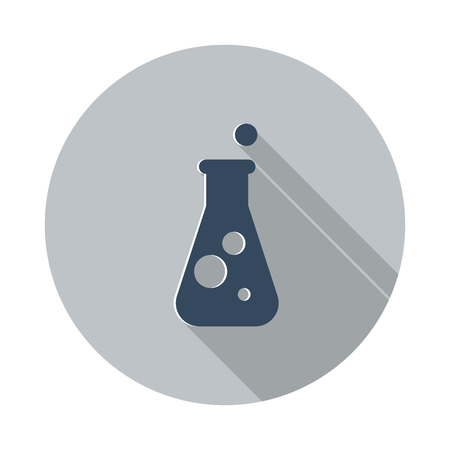 conical: Flat Conical Flask icon with long shadow on grey circle Illustration