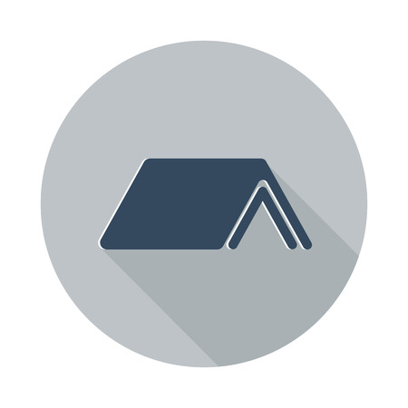 flat roof: Flat Roof icon with long shadow on grey circle