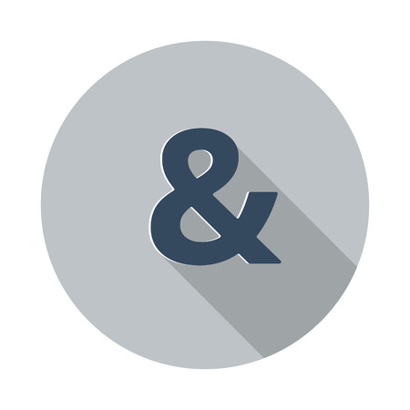 ampersand: Flat Ampersand  icon with long shadow on grey circle Illustration