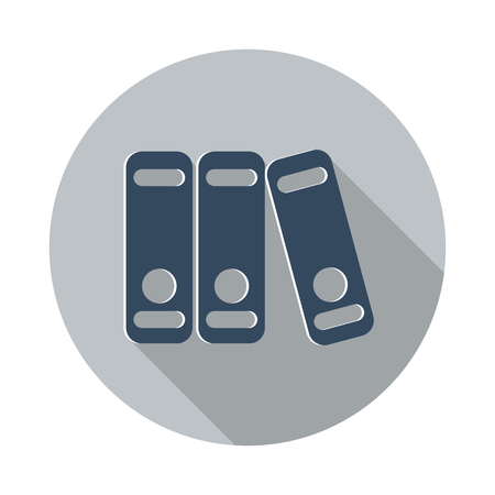 stack of files: Flat Binders icon with long shadow on grey circle