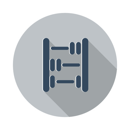 abacus: Flat Abacus icon with long shadow on grey circle Illustration