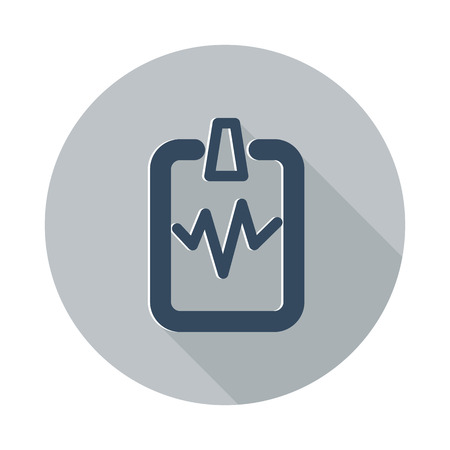 doctor appointment: Flat Cardiogram Clipboard icon with long shadow on grey circle Illustration