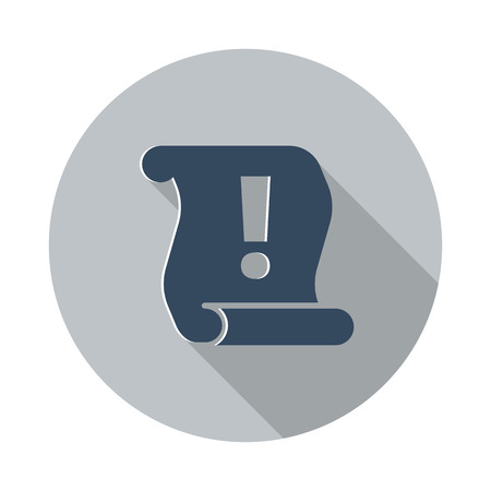important information: Flat Important Information icon with long shadow on grey circle