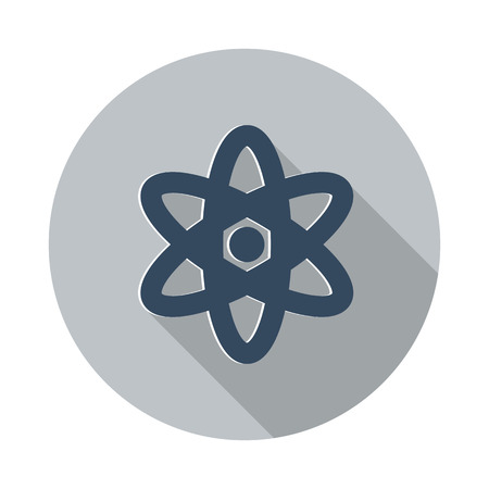 fission: Flat Nuclear icon with long shadow on grey circle Illustration