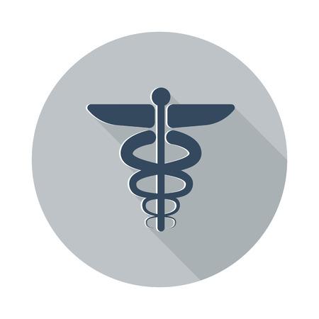 esculapio: Piso icono S�mbolo m�dico con una larga sombra sobre el c�rculo gris Vectores