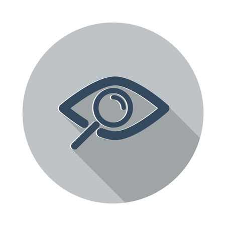 Flat Observe icon with long shadow on grey circle