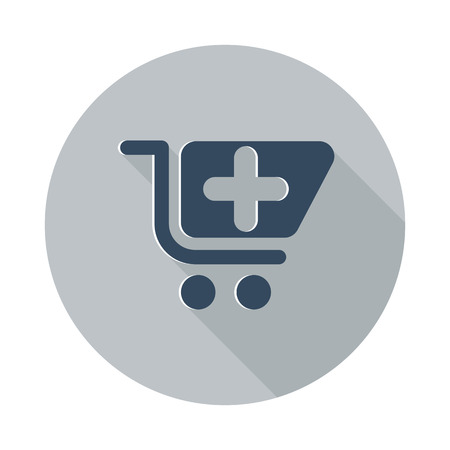 pharmacy store: Flat Pharmacy Store icon with long shadow on grey circle