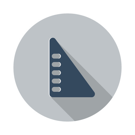 set square: Flat Set Square icon with long shadow on grey circle Illustration