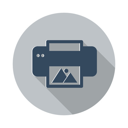 photo printer: Flat Photo Printing icon with long shadow on grey circle