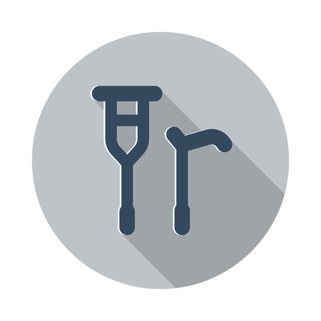 crutch: Flat Crutch Cane icon with long shadow on grey circle Illustration