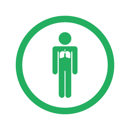 exhale: Flat green Lungs icon and green circle