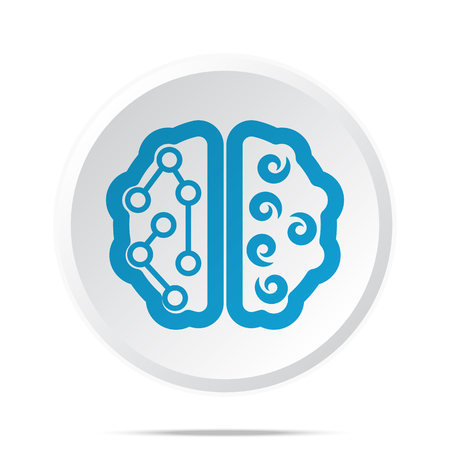 blue brain: Flat blue Brain icon on circle web button on white