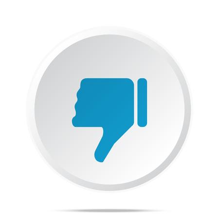thumb down icon: Flat blue Thumb Down icon on circle web button on white