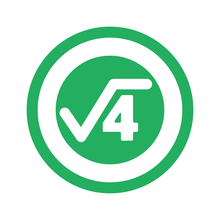 square root: Flat green Square Root icon and green circle Illustration