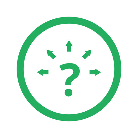 tactic: Flat green Question Mark Arrows icon and green circle
