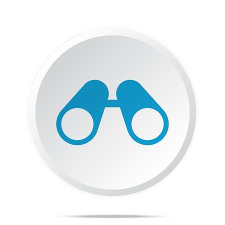 spectators: Flat blue Binoculars icon on circle web button on white