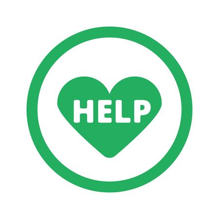 cardioverter: Flat green Defibrillator  icon and green circle Illustration