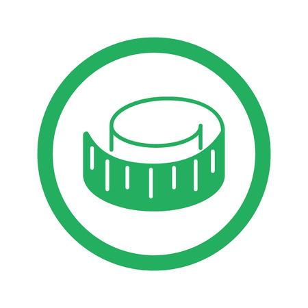 cintas metricas: Flat green Measuring Tape icon and green circle