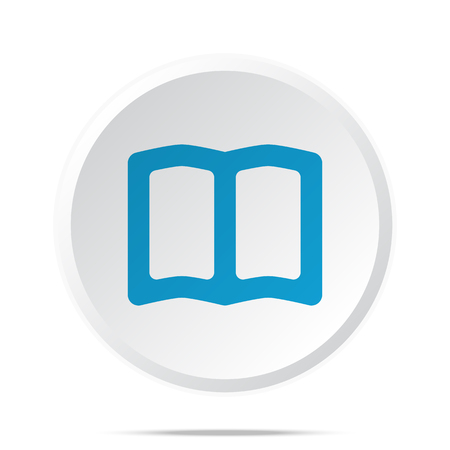 Flat blue Book icon on circle web button on white Иллюстрация