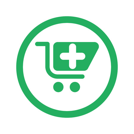 pharmacy store: Flat green Pharmacy Store icon and green circle Illustration