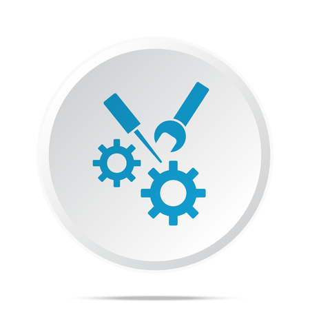 business gears: Flat blue Service icon on circle web button on white
