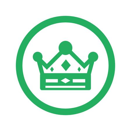 coronation: Flat green Crown icon and green circle